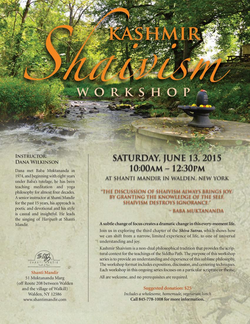 Kashmir Shaivism Workshop Flyer-June 2015