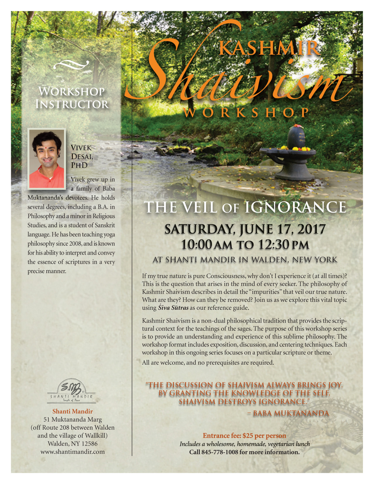 Kashmir Shaivism Workshop Flyer-June 2017