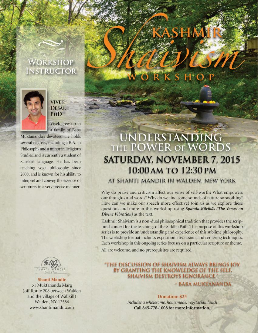 Kashmir Shaivism Workshop Flyer-Nov 2015
