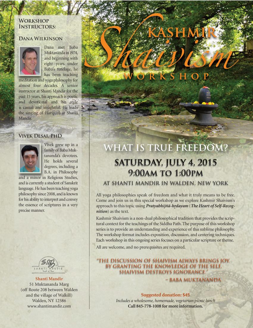 Kashmir Shaivism Workshop Flyer-July 2015