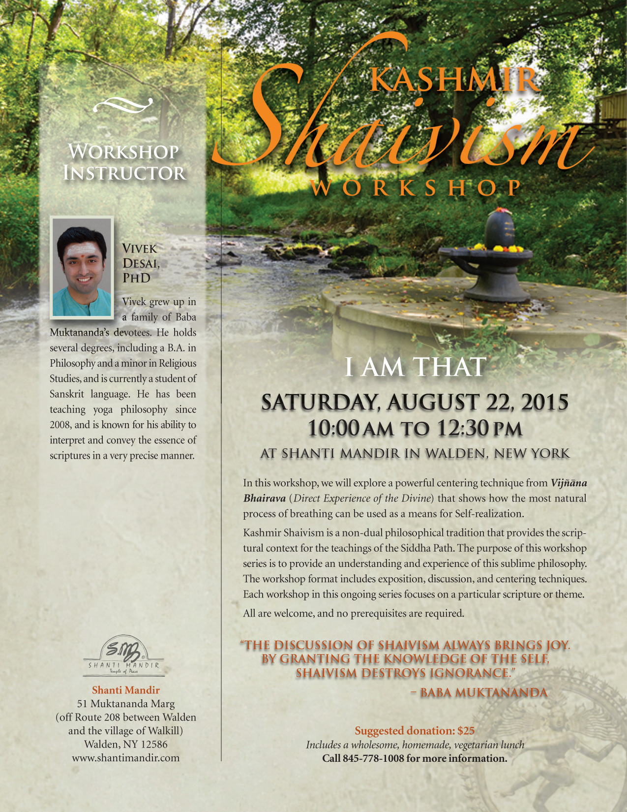 Kashmir Shaivism Workshop Flyer-Aug 2015