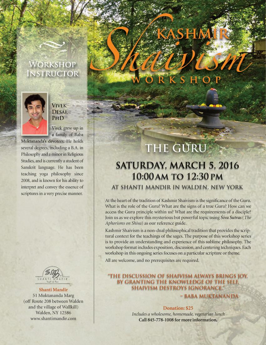 Kashmir Shaivism Workshop Flyer-Mar 2016